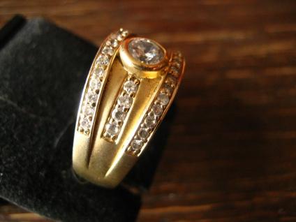 sehr edler moderner Designer Ring 925er Silber mattiert gold vergoldet Zirkonia - Vorschau 3