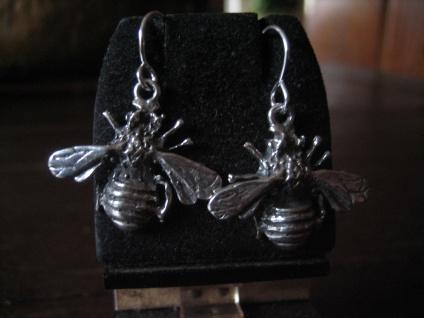 schöne plastische Biene Wespe Hummel Ohrringe Hänger lebensecht 925er Silber neu