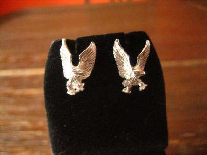 starke Adler Ohrringe Stecker 925er Silber für Biker Gothic Ladies und Piraten