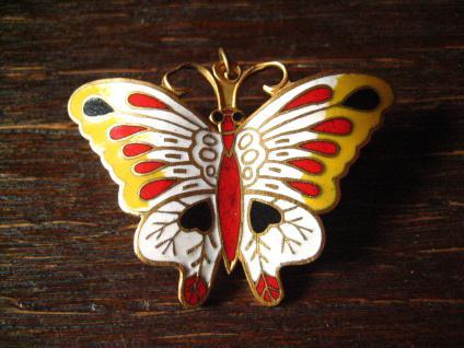 großer Anhänger Brosche Schmetterling Cloisonnee Emaille farbenfroh emailliert