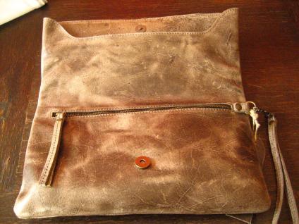 luxuriöse echt Leder Tasche Clutch Kroko Prägung beige Designer R. Leonardi - Vorschau 3