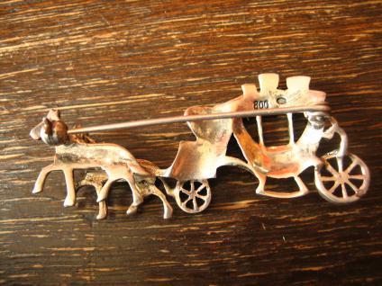 prächtige Kutsche Hochzeitskutsche Pferde 800er Silber Brosche Art Deco Markasit - Vorschau 4
