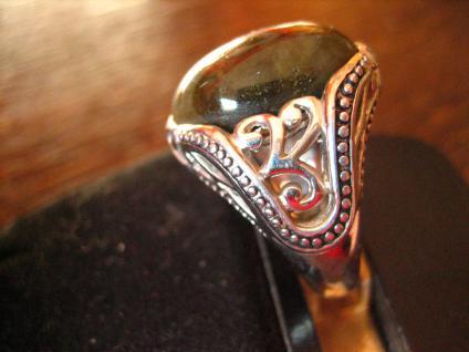 prächtig verzierter vintage Designer Ring Labradorit 925er Silber 17, 3 mm RG 55