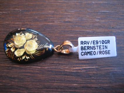 exklusiver Anhänger Bernstein Gemme Kamee Cameo Intaglio 925er Silber gold Rosen - Vorschau 3