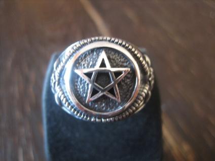 repräsentativer Celtic Pentagramm Ring Baphomet 925er Slber et Nox RG 68