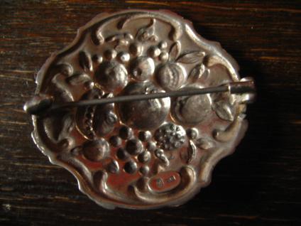 herrliche Jugendstil Klassizismus Brosche üppige Früchte getrieben 800er Silber - Vorschau 2