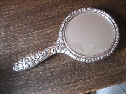 prächtiger antiker Spiegel Handspiegel silber pl für Frisiertisch und Boudoir - Vorschau 3