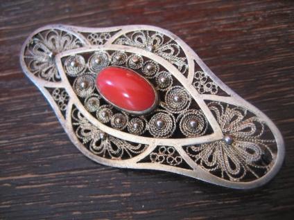 prächtige Art Deco Brosche rote Koralle Silber vergoldet allerfeinste Handarbeit - Vorschau 2