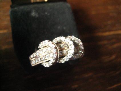 sehr edler moderner Designer Ring beweglich 925er Silber Zirkonia weißgold Optik