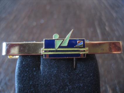 vintage Sport Krawattennadel Krawattenklemme Barren Stufenbarren Emaille gold