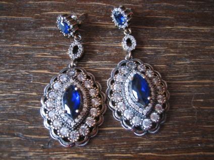Kronjuwelen gesucht ? opulente saphir blau diamant Ohrringe Hänger 925er Silber