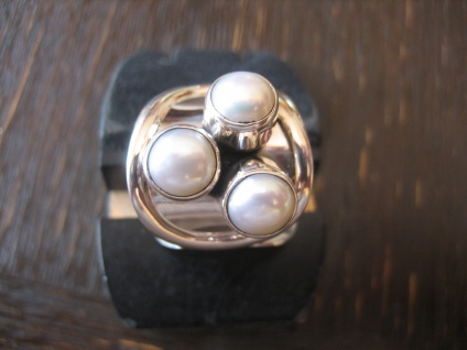 origineller breiter Designer Ring 925er Silber weiße Perlen NEU verstellbar