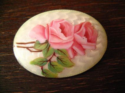 herrliche große Jugendstil Brosche Emaille Rosen Rose Emailmalerei 900er Silber