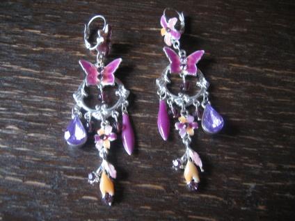 traumhafte große Modeschmuck Ohrringe Hänger Chandeliers zuckersüß silber rosa