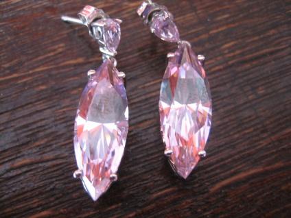 geschmackvolle Ohrringe Hänger 925er Silber rosa pink Diamonique DQCZ wie neu