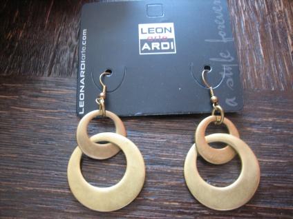 prächtige Statement Ohrringe Hänger Designer Leonardi Arte antik - gold Bronze