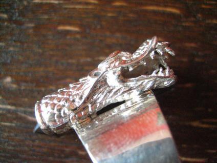 Statement Designer Drache Drachen Ring 925er Silber Vulkanglas 18, 25 mm verstell - Vorschau 2