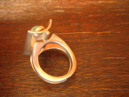 Exklusiver Vintage Designer Ring 935er Silber Chrysopras ausgefallen RG 52 - Vorschau 5