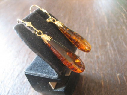 Bernstein Ohrringe Hänger baltischer Bernstein Pampeln 925er Silber gold NEU B - Vorschau 3