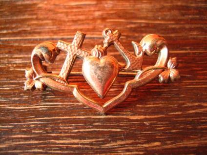 romantische Jugendstil Brosche Glaube Liebe Hoffnung rosegold Herz Kreuz Anker