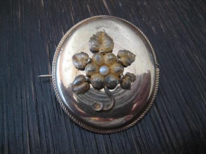 bezaubernd schöne Biedermeier Brosche gold Perle Blume Blüte Schaumgold selten