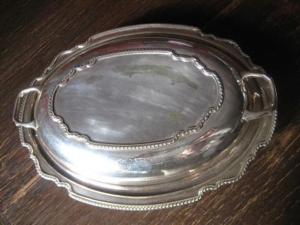 elegante Servierschale Schale Haube Deckel Griffe tolle Form silber pl Sheffield - Vorschau 2