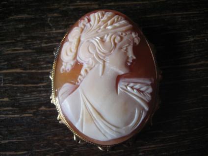 exquisite Muschelgemme Kamee Cameo Anhänger Brosche 925er Silber vergoldet