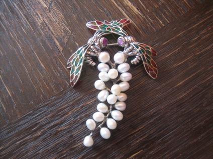 Traum Jugendstil Brosche Emaille Perlen Art Nouveau enamel Brooch 925er Silber
