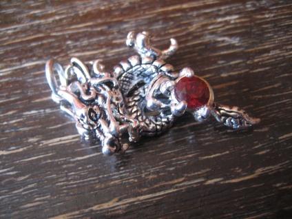 exklusiver Drachen Anhänger Drache roter Schmuckstein 925er Silber neu et Nox - Vorschau 3