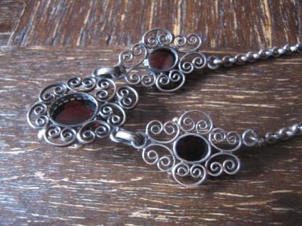 prächtiges antikes Trachten Dirndl Granat Collier Kette 800er Silber Handarbeit - Vorschau 3