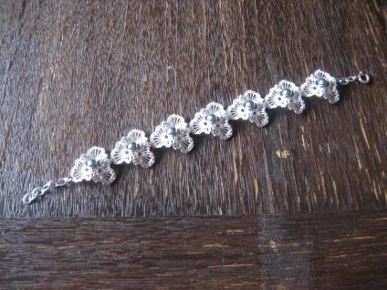 prächtiges Art Deco Armband feinste Handarbeit 835er Silber graue Perlen Unikat
