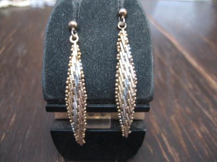 wunderschöne Vintage Ohrringe Hänger Bicolor Optik 925er Silber teils vergoldet