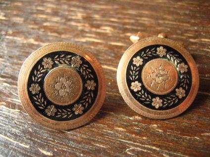 traumhaft schöne Biedermeier gold Emaille Manschettenknöpfe aus antikem Knopf B