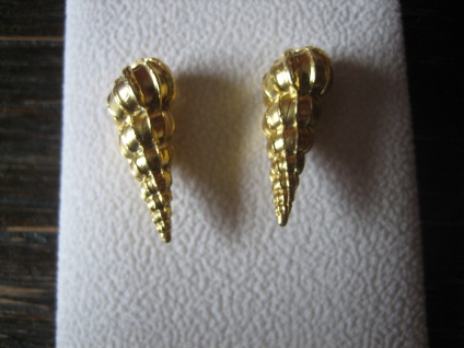 maritime Muschel Tritonshorn Designer Ohrringe Hänger 925er Silber vergoldet