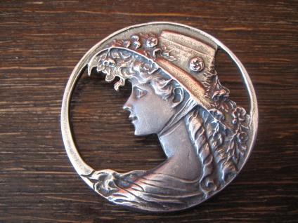 Dame mit Hut prächtiger großer Jugendstil Anhänger / Brosche 925er Silber