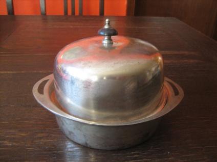 nostalgische Servierschale mit Haube Muffin Dish silber pl England Barker Ellis