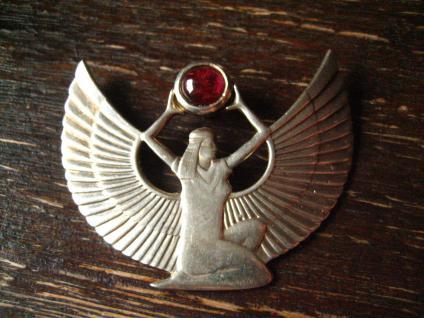 prächtiger Art Deco Anhänger ägyptische Göttin Isis 925er Silber signiert HWR