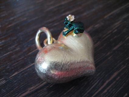 zauberhafter Herz Anhänger vollplastisch Frosch Froschkönig 925er Silber gold