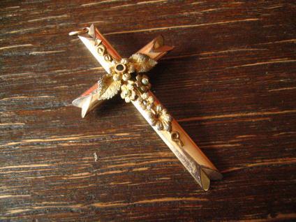 Wunderschöner Biedermeier Kreuz Anhänger fein floral belötet Romantik pur ! - Vorschau 2