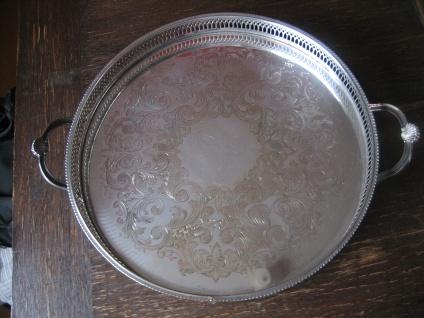 atemberaubendes Silbertablett Galerietablett Tablett silber pl England 35 cm