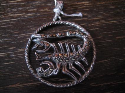großer Art Deco Markasit Anhänger Sternzeichen Skorpion Horoskop 925er Silber