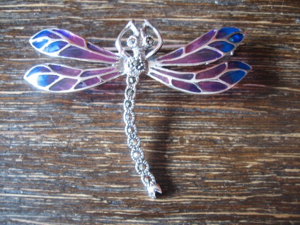 bezaubernd schöne Insekten Brosche Libelle Anhänger 925er Silber bunt emailliert