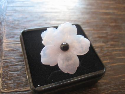 zauberhafter Ring Rosenquarz Blüte Steingravur 925er Silber gold 19 mm Unikat