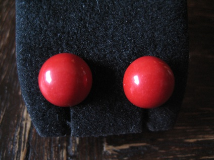 klassisch elegante Ohrringe Stecker Rote Koralle 925er Silber gold NEU 10 mm