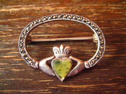 feine seltene antike Claddagh Brosche keltische Hochzeit Verlobung 925er Silber