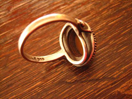 Prächtiger Art Deco Ring Tigerauge 900er Silber Handarbeit Meistermarke 18, 5 mm - Vorschau 4