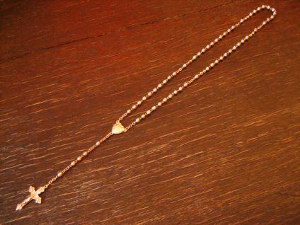 schöner antiker Rosenrkanz silber Herz Kreuz Silberkugeln versilbert 20er Jahre - Vorschau 1