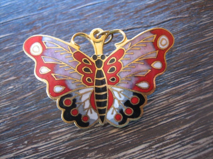 großer Anhänger Brosche Schmetterling Cloisonnee Emaille farbenfroh emailliert B
