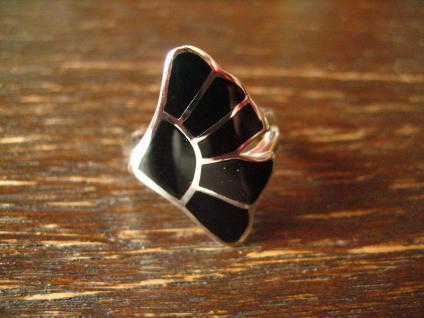 moderner sehr edler Gingko Blatt Ring 925er Silber Onyx Einlage schwarz neu RG 60 - Vorschau 2