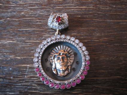 Kronjuwelen gesucht ? opulenter Jesus Anhänger 925er Silber gold rubin Zirkonia
